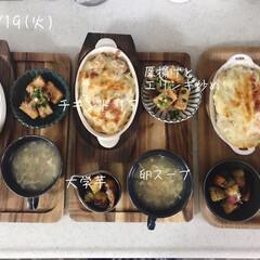 息子飯/昼ごはん/昼食/キッチン/おうちごはん/ランチ 今日の昼ごはん! ・チキンドリア ・卵ス…