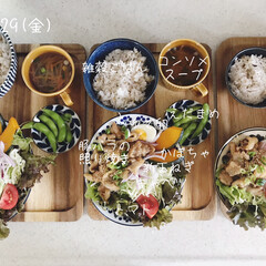息子飯/昼ごはん/昼食/キッチン/おうちごはん/ランチ/... 今日の昼ごはん! ・雑穀ごはん ・豚バラ…