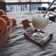 ヨーグルトメーカー/手作り/甘酒/我が家のテーブル 米麹から甘酒作りました!甘くて美味しい😍…