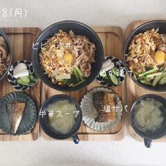 キッチン/昼食/昼ごはん/息子飯/おうちごはん/ランチ 今日の昼ごはん! ・ビビンバ丼 ・塩サバ…
