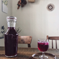 季節のイベント/ワイングラス/ロックイート/保存瓶/しそジュース/梅雨/... 梅シロップに続き、しそジュースも! 毎年…