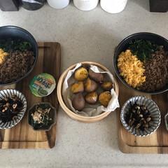 おうちごはん/息子飯/お昼ごはん/キッチン 今日の息子2人の昼ごはん ・三色丼ぶり …