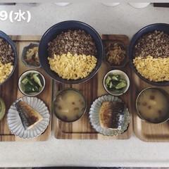 息子飯/男子ごはん/お昼ごはん/キッチン/料理/おうちごはん 今日の昼ごはん! ・二色丼 ・なめこの味…
