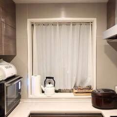 マンション/パンケース/炊飯器/DEAN&DELUCA/野菜ストッカー/やかん/... 我が家のキッチン。マンションにしては珍し…(1枚目)