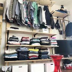 オープンクローゼット/洋服収納/寝室リフォーム/寝室/オープン収納/賃貸インテリア/... 衣替え👚