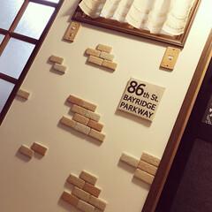 レンガ/カフェ風/壁/かるかるブリック/インテリア/雑貨/... かるかるブリックとゆうレンガを壁に貼って…