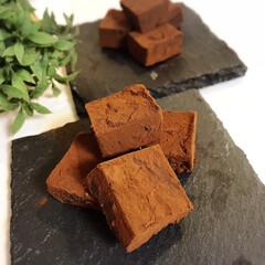 お菓子作り/チョコ/甘い/2月14日/生チョコ/チョコレート/... 今年のバレンタインは生チョコを作りました…