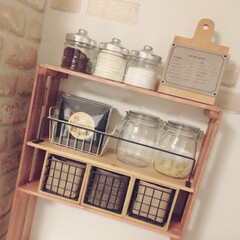 水性ニス/カフェ風キッチン/カフェ風/瓶/すのこ/すのこシェルフ/... お気に入りのスペース! すのこでできた棚…