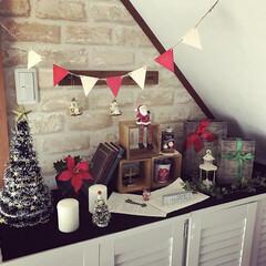 クリスマスインテリア/ディスプレイ/可愛い/クリスマス雑貨/クリスマス/クリスマスツリー/... 階段下のこのスペースはイベントごとにディ…