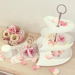 ケーキスタンド/ブーケ/バラ/ピンク/アンティーク/ディフューザー/... カフェ風なインテリアが大好きですが同じく…