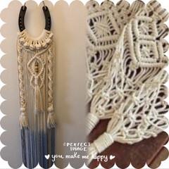 マクラメ編み/ダイソー/セリア/100均/雑貨/ハンドメイド 色々な紐で編んでみました! だいぶ短時間…