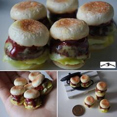 プティポッシュ/ハンバーガー/樹脂粘土/ミニチュアフード/ミニチュア/ハンドメイド * やっと、満足のいくハンバーガーが出来…