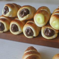 プティポッシュ/粘土/パン/ミニチュア/手作り/樹脂粘土/... チョコクリーム、カスタードクリームがたっ…