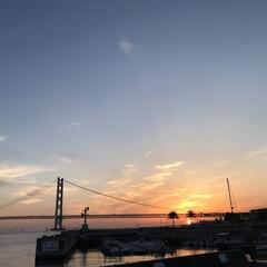 明石海峡大橋/夕日の沈む頃/風景/旅 旅の景色に投稿します