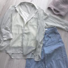 ザラデニム/ザラ/ZARA/GU/ファッション/雑貨/... 暖かくなってきてやっと着られたシアーシャ…