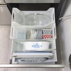 トレー収納/食器棚収納/カップボード収納/収納/キッチン収納/キッチン雑貨/... カップボード収納⑥  炊飯器下には トレ…
