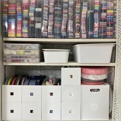 リビング棚/インボックス収納/インボックス/小物収納/100均/ニトリ/... リビング棚4  ここはオープン棚  趣味…