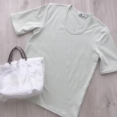 Tシャツ/ユニクロユー/カジュアルコーデ/UNIQLOU/UNIQLO/ユニクロ/... 今年は暑いらしいですね!  購入してから…(1枚目)