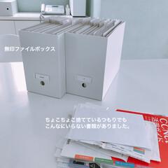 無印ファイルボックス/無印良品/シンプルインテリア/シンプルライフ/シンプルな暮らし/整理収納/... 無印のファイルボックスにコクヨの個別ホル…