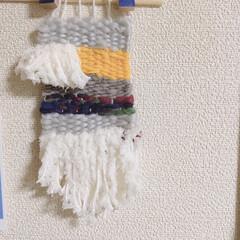 段ボール編み/毛糸/段ボール/タペストリー/手作りタペストリー/ハンドメイド/... 段ボール編みタペストリー出来上がり。