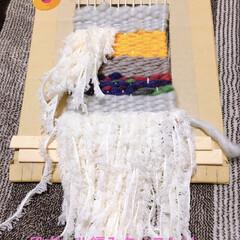 手作りタペストリー/タペストリー/段ボール/毛糸/ハンドメイド/DIY/... 段ボールでタペストリー作ってみました。 …