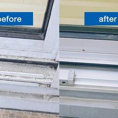 窓/サッシ/掃除/大掃除/家事代行/カジタク/... サッシの掃除には、まずブラシと掃除機でお…