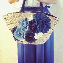 リボンかごバッグ/フラワーかごバッグ/かごバッグ/ファッション/雑貨/ハンドメイド この夏は色々なかごバッグを作りました。 …