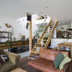 階段/リビング/ダイニング/キッチン/吹抜け/土間/... . ~おしゃれなカフェさながらの  洗練…