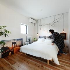 自然素材/無垢材/無垢杉の床/漆喰の壁/白い壁/外断熱/... . ~お手製の照明器具や観葉植物  お気…