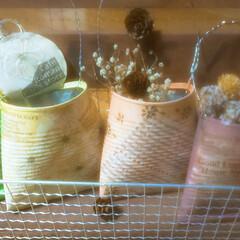 リメ缶/DIY/簡単DIY/LIMIADIY同好会/おうち時間DIY/第3回これもあれもDIYしました!/... リメ缶作成 焼き網で作った棚に飾ってみた…(1枚目)