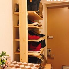 シューズボックス/シューズラック/玄関収納/収納/無印良品/はじめてフォト投稿/... 【DIY】ディアウォールで靴収納♪  も…