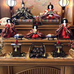 オルゴール/三段飾り/雛人形/ひなまつり/フォロー大歓迎/雑貨/... 今日は、ひなまつり🎎 子供のお雛様達 オ…(1枚目)