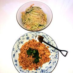 感謝/ありがとう/ヒノヒカリ🌾/熊本県産/納豆キムチ炒飯/春雨サラダ/... こんにちは  九州では大雨で大変な被害の…