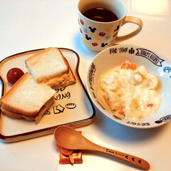 3COINS/グリコ/紅茶/フルーツヨーグルト/ミニトマト🍅/玉子サンド/... おはようございます☀ 休み明け… 仕事始…