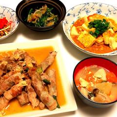 納豆/ほうれん草/お浸し/豆腐/エビチリソース/梅肉ソース/... 夕ご飯 今日は、天気も良く気温も上がり色…