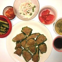 ピーマンの肉詰め/大根サラダ/きゅうり漬け🥒/キムチ/トマト🍅/とろ〜りオニオンスープ/... おはようございます⛅️ こちらは、晴れた…