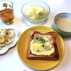 レモンティー/ポタージュスープ/ピザトースト/バナナ🍌/名月🍎/スープマグ/... おはようございます(*^^*) 朝ごはん…