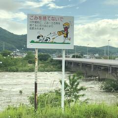 大雨/濁流/渡良瀬川/令和元年フォト投稿キャンペーン/令和の一枚/フォロー大歓迎/... 帰宅途中、信号待ちにて 今日の大雨で渡良…
