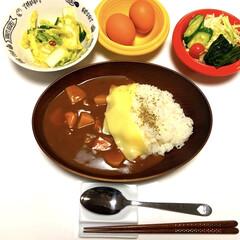 """フォロー大歓迎/サラダ🥗/ゆで卵/きゅうりと白菜の浅漬け/カレーライス/ダイソー/... こんばんは〜*˙︶˙*)ノ"""" 今日は雨で…"""