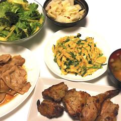 白菜漬け/豆腐とわかめとネギの味噌汁/グリーンサラダ/ニラ玉/豚焼肉/鶏肉スパイスグリル/... お腹空いてるからたくさん作ってしまった😋…