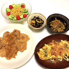 サラダ🥗/なすのわさび漬け/ゴーヤの甘辛炒め/納豆オムレツ/豚肉の味噌ニンニク焼き/ダイソー/... こんばんは😄 今頃、夕ご飯投稿  豚肉の…