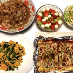 簡単/コーンとササミのサラダ🥗/トマトモッツァレラとキウイのカプレーゼ風/ちくわオーロラ麩焼き/ニラ玉/豚バラ煮/... 今日の夕ご飯は、まとめました😊  豚バラ…