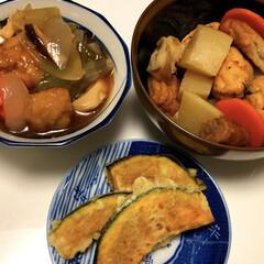 かぼちゃの天ぷら/煮物/酢豚/LIMIAごはんクラブ/フォロー大歓迎/わたしのごはん/... 煮物 酢豚 かぼちゃの天ぷら