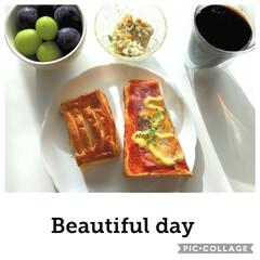 アイスコーヒー/コールスローサラダ/シャインマスカット/巨峰🍇/アップルパイ🍎/ピザトースト/... 今頃、朝食をアップ📱✨  ピザトースト …