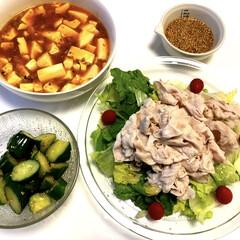 手作りゴマだれ/冷しゃぶサラダ🥗/麻婆豆腐/ヤミツキきゅうり🥒/おうちごはん/100均/... こんばんは(*^_^*)  今日は、朝か…