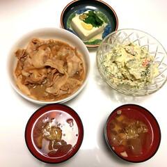 けんちん汁風/冷奴/ゴーヤとツナとカニオニオンサラダ🦀/豚丼/ダイソー/100均/... こんばんは😄 夕方は、雷⚡️ゴロゴロでし…