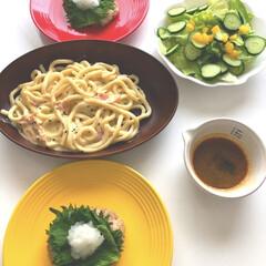 手作り/豆腐ハンバーグ➕和風ソース/うどんカルボナーラ/サラダ🥗/DAISO/Seria/... (*ˊᗜˋ*) ノこんにちわ  今日のラ…