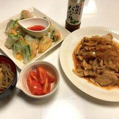 生姜焼き玉ねぎ入り/生春巻き/美味しいトマト🍅/もやしと卵の中華スープ/手作り/夕ご飯 おはようございます٩(*´꒳`*)۶  …(1枚目)