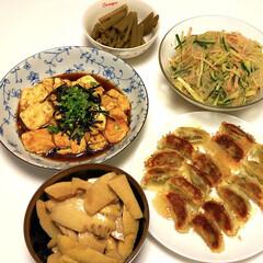 たけのこ油炒め/ふきの煮物/春雨サラダ/豆腐ステーキ/宇都宮餃子🥟/令和の一枚/... 長い連休も、終わり今日から、学校や会社へ…
