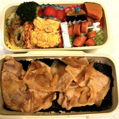 市大会🏓/生姜焼き弁当/おはようございます⋆̩☂︎*̣̩/ダイソー/100均/お弁当/... おはようございます;(´•௰•`)☂☔ …